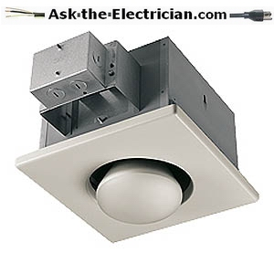 installing a bathroom exhaust fan with an optional heat lamp to warm