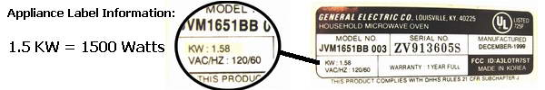 Electrical Appliance Label