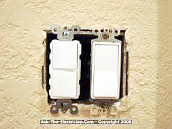 how to install a ceiling fan and wire the switch installing the double stack switch the stack switch or double switch mounts nicely next to an existing light switch this type of installation uses the