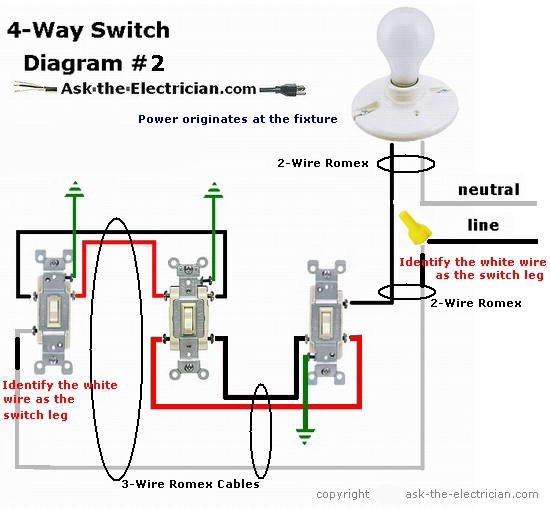 4wayswitchdiagram2 how to wire a 4 way switch wiring 4 way switch diagram at bayanpartner.co