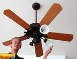 Matthew Rongey Hanging a Ceiling Fan to demonstrate Ceiling Fan Wiring Diagram #2