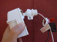 Adding A Motion Sensor To An Existing Outdoor Light How to wire a motion detector the motion detector head mounts into the lamp holder base which accepts the half inch threaded fitting workwithnaturefo