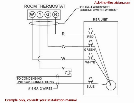 how to wire a thermostat rh ask the electrician com carrier 4 wire thermostat wiring 4 wire thermostat wiring color code